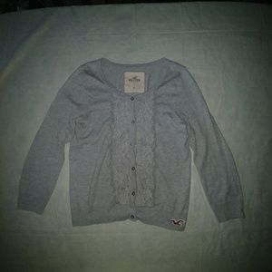 Hollister lace grey cardigan sweater